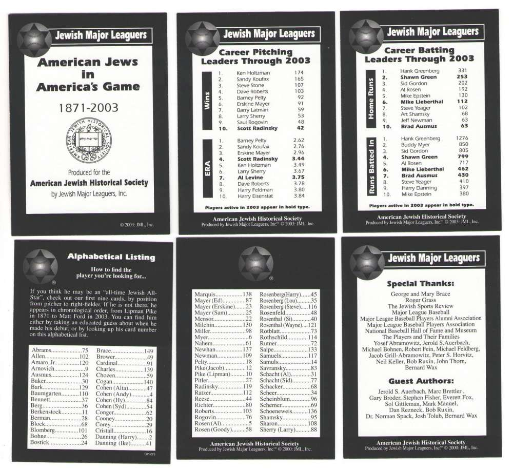 2003 Jewish Major Leaguers Checklist, Info card & Leaders (6 cards)