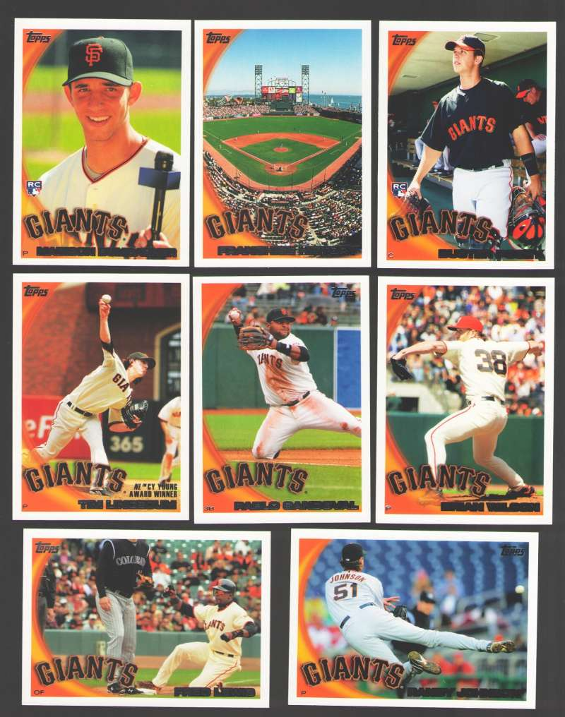 2010 Topps - SAN FRANCISCO GIANTS Team Set w/ Buster Posey RC