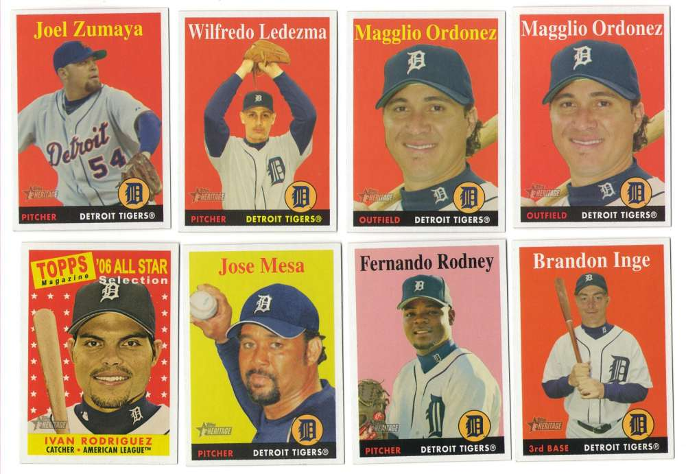 2007 Topps Heritage w/ SPs - DETROIT TIGERS Team Set