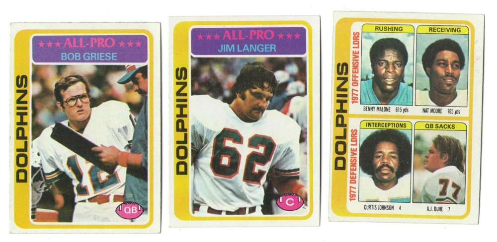1978 Topps Football Team Set (EX+ Condition) - MIAMI DOLPHINS