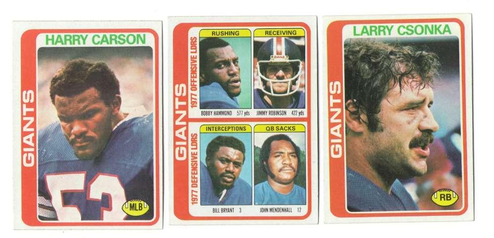 1978 Topps Football Team Set (EX+ Condition) - NEW YORK GIANTS
