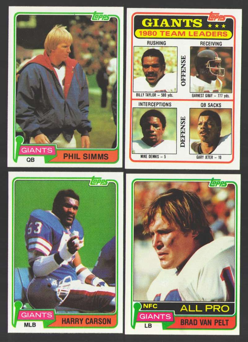 1981 Topps Football Team Set - NEW YORK GIANTS