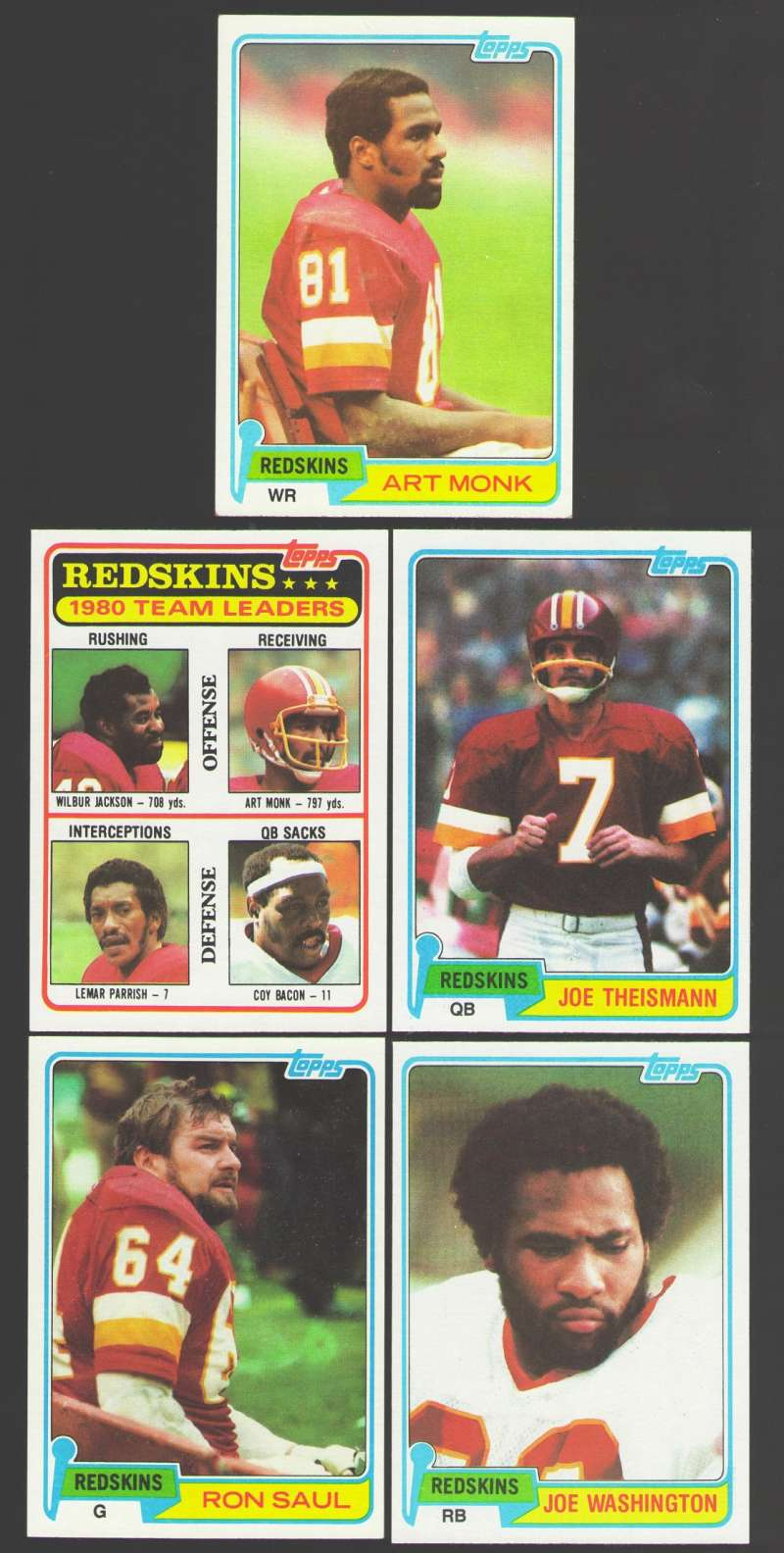 1981 Topps Football Team Set - WASHINGTON REDSKINS w/ Art Monk RC