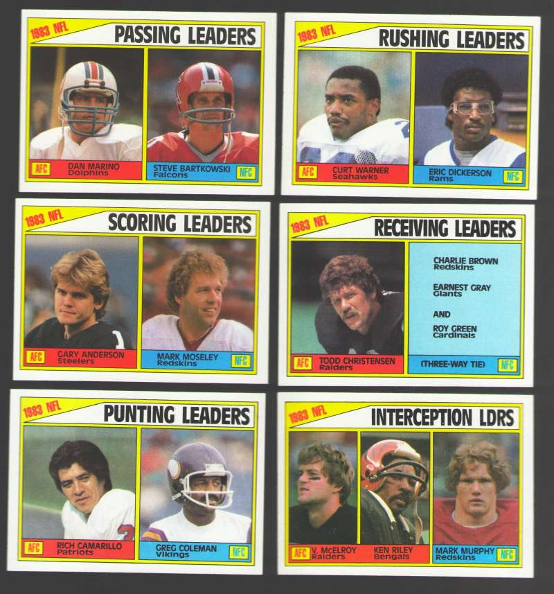 1984 Topps Football League Leaders Set (6 cards) w/ Dan Marino  Eric Dickerson
