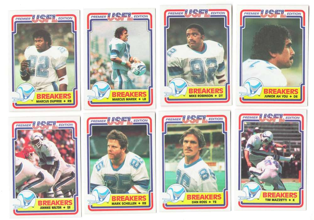1984 Topps USFL Football Team Set - New Orleans Breakers