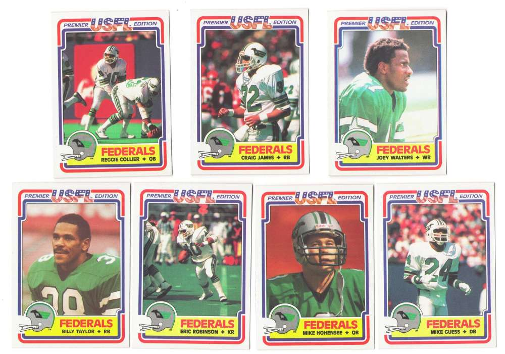 1984 Topps USFL Football Team Set - Washington Federals