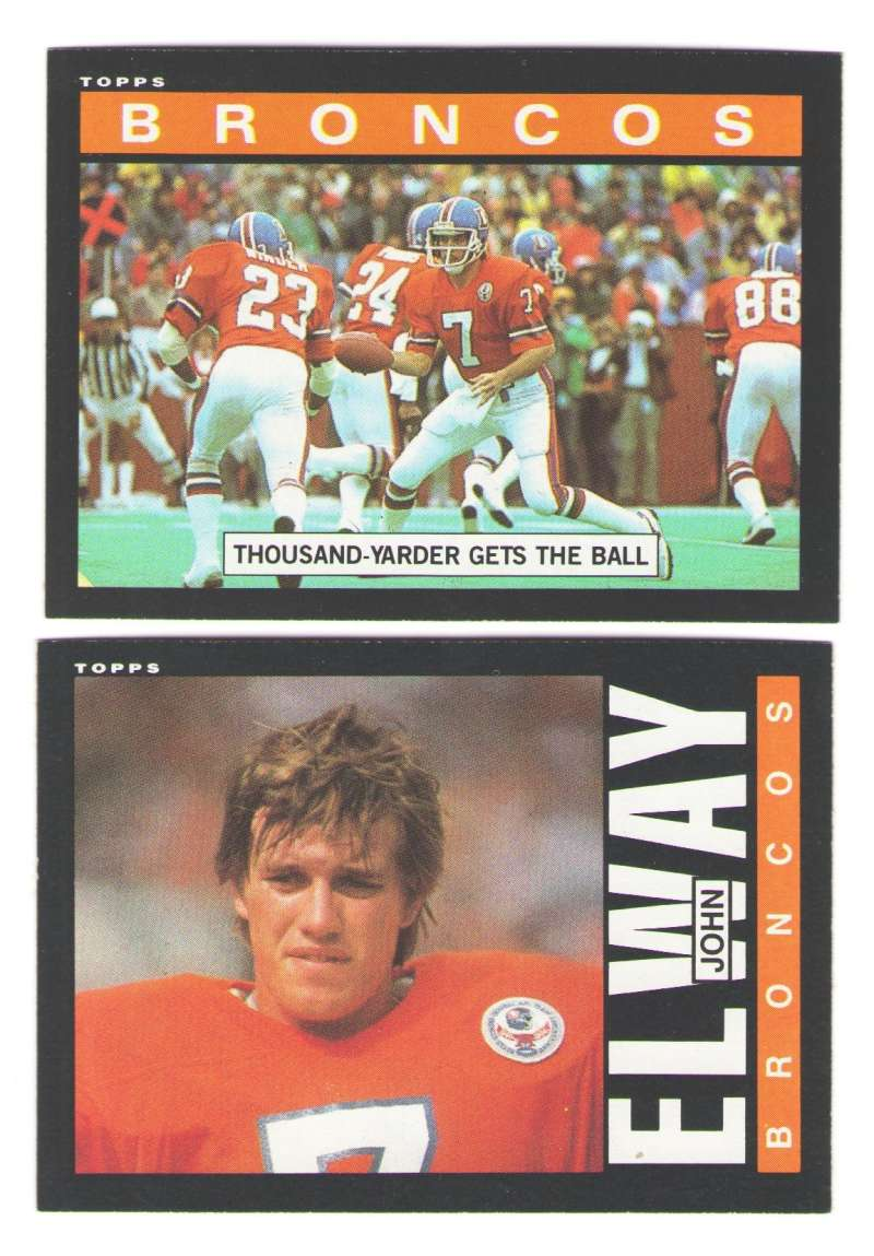 1985 Topps Football Team Set - DENVER BRONCOS w/ John Elway