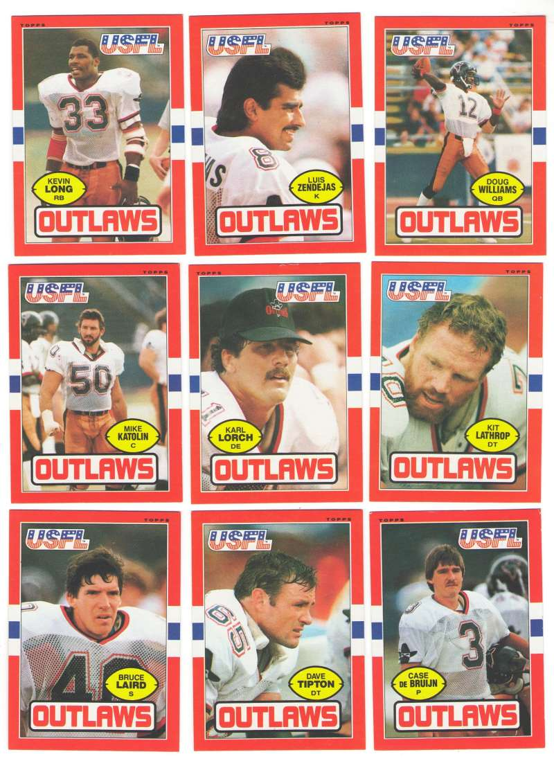 1985 Topps USFL Football Team Set - Arizona Outlaws