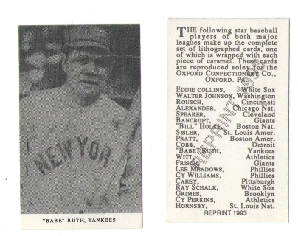 1921 Oxford Confectionery (E253) Reprints - NEW YORK YANKEES Ruth Creased
