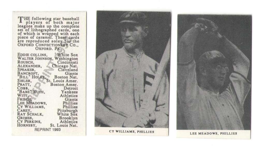 1921 Oxford Confectionery (E253) Reprints - PHILADELPHIA PHILLIES Team Set