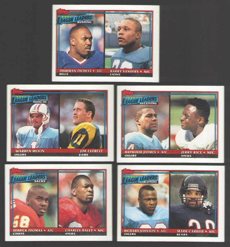 1991 Topps Football League Leaders (5 card subset)