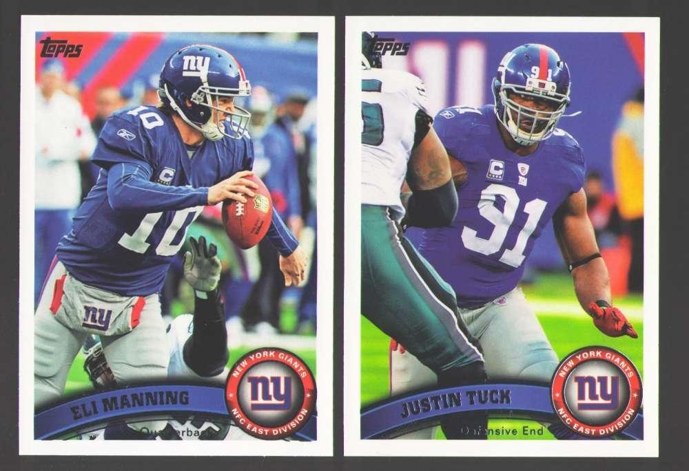 2011 Topps Football Team Set New York Giants - 16 Cards