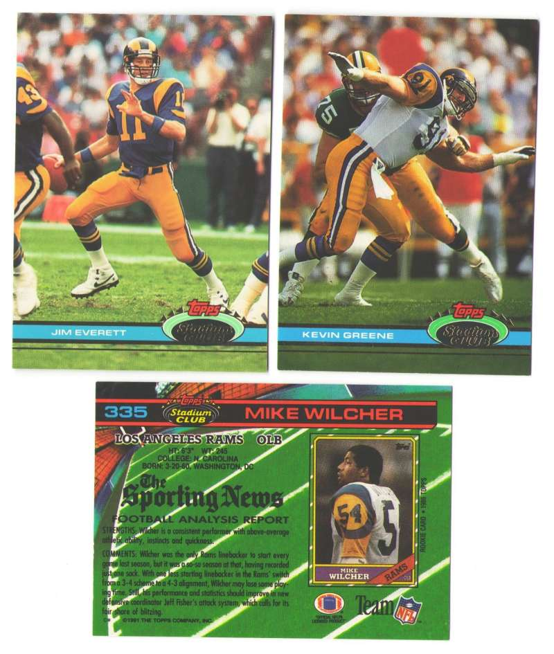 1991 Topps Stadium Club Football Team Set - Los Angeles RAMS