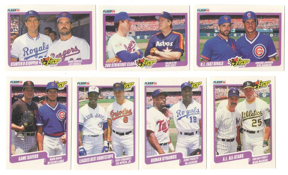 1990 Fleer - Combo cards of Multi players 7 card lot