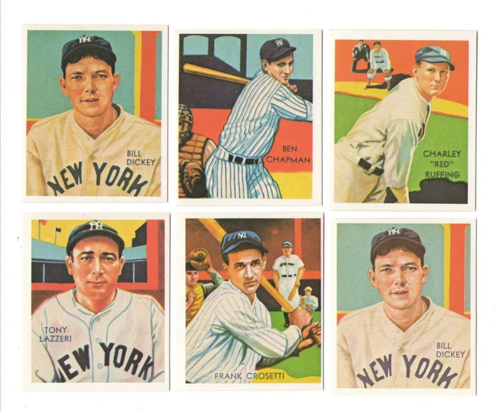 1934-36 National Chicle (Diamond Stars) Reprints - NEW YORK YANKEES Team Set