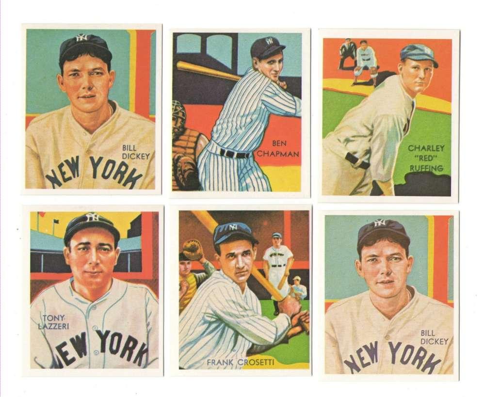1934-36 National Chicle (Diamond Stars) Reprints - NEW YORK YANKEES Team Set