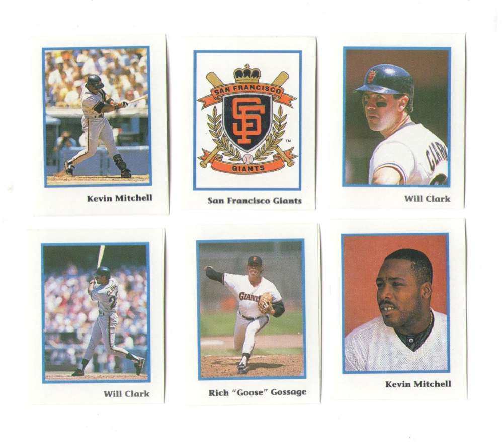 1990 Publications International Stickers - SAN FRANCISCO GIANTS Team Set