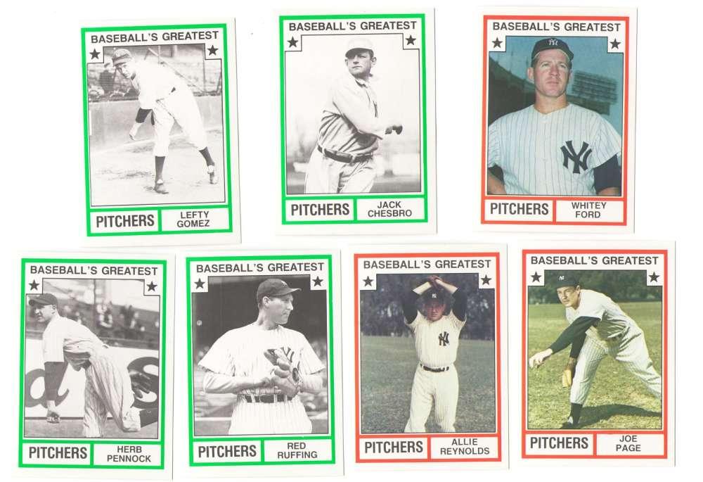 1982 TCMA Greatest Pitchers - NEW YORK YANKEES Team Set