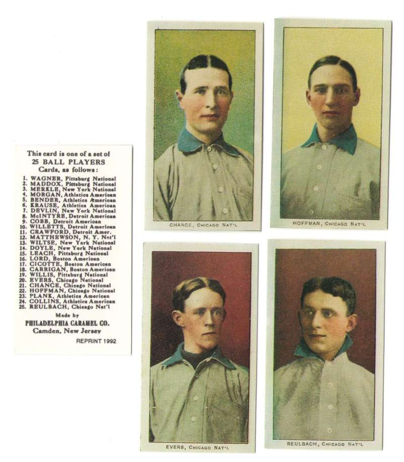 1909 Philadelphia Caramel E95 Reprints - CHICAGO CUBS Team Set