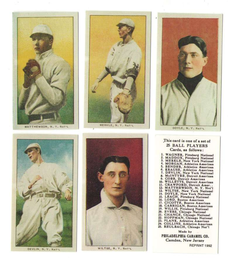1909 Philadelphia Caramel E95 Reprints - NEW YORK GIANTS Team Set