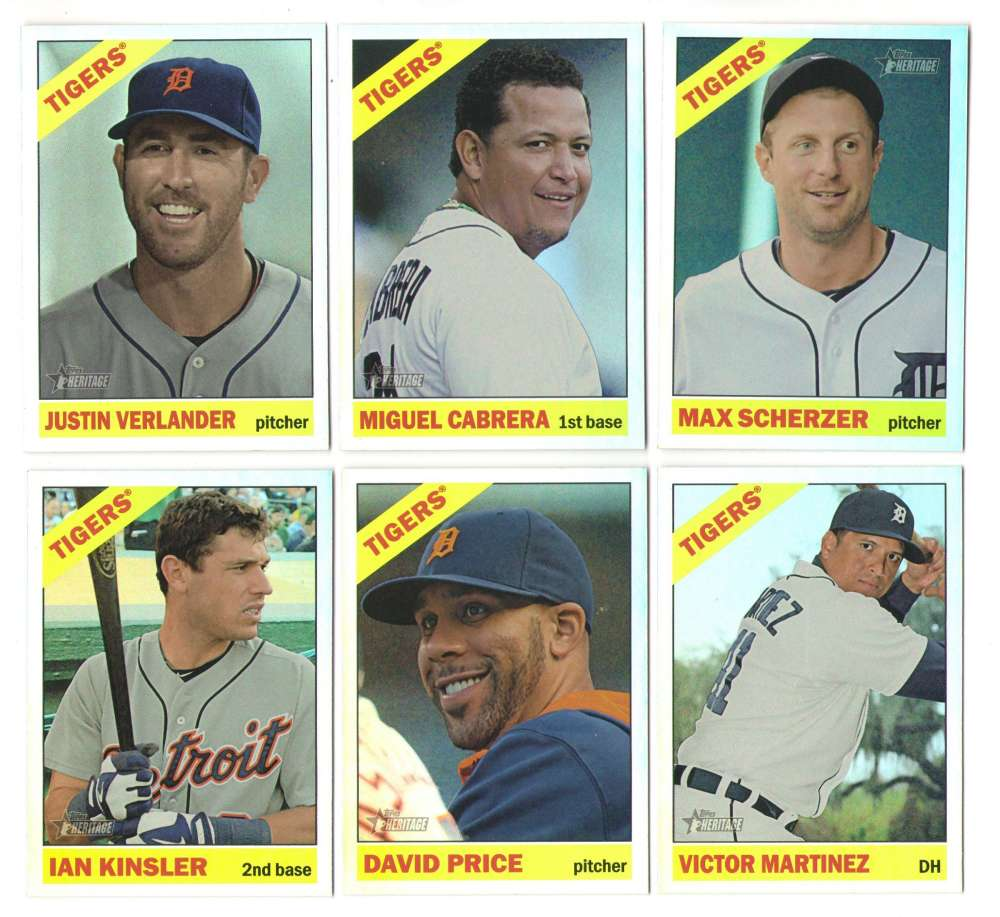 2015 Topps Heritage Chrome Retail Foil - DETROIT TIGERS Team Set