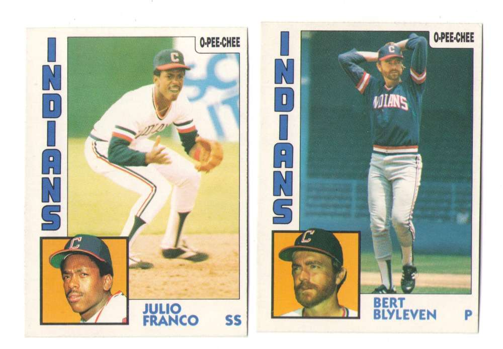 1984 O-Pee-Chee (OPC) - CLEVELAND INDIANS Team Set