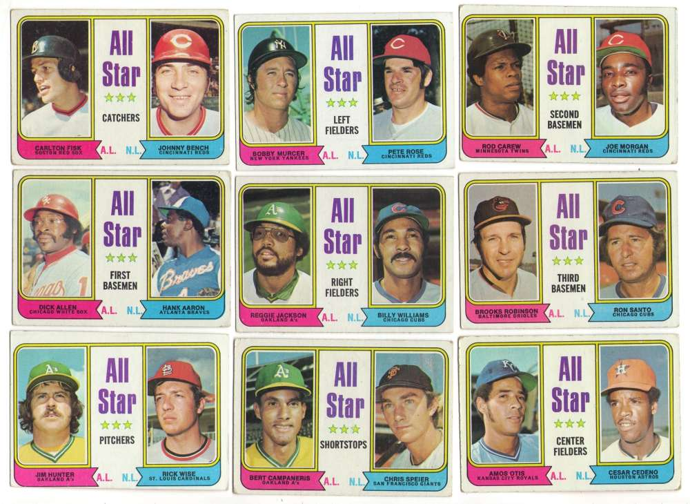 1974 Topps C VG+ condition All-Stars 9 card subset