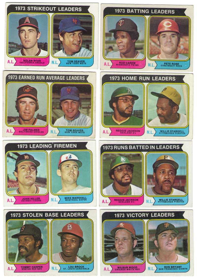 1974 Topps C VG+ condition League Leaders 8 card subset
