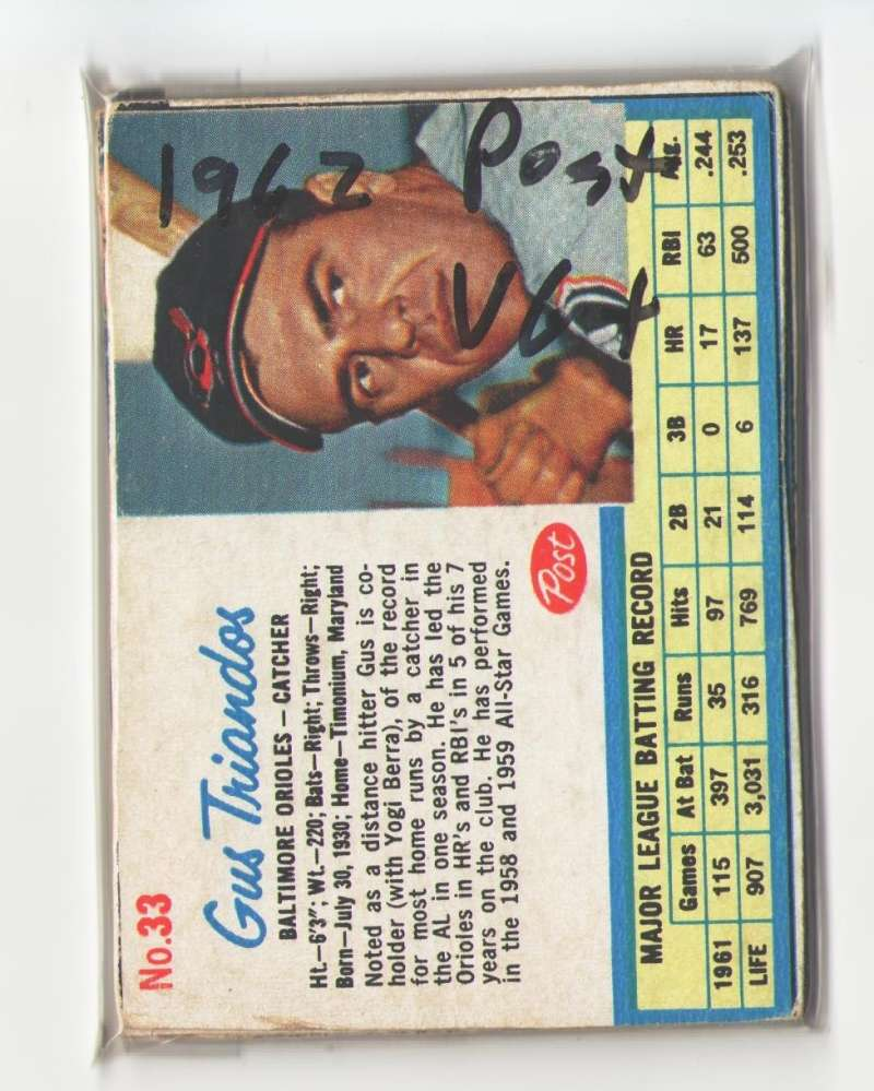 1962 Post (VG+ Condition) - BALTIMORE ORIOLES Team Set