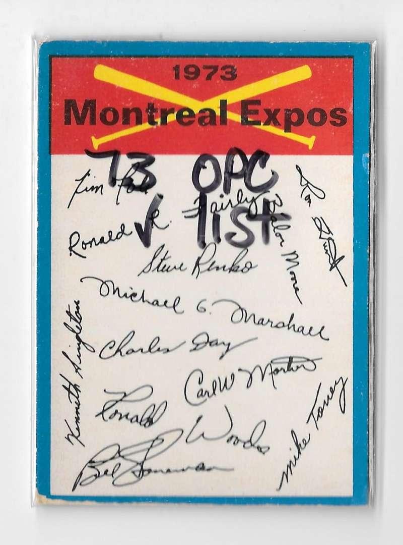 1973 O-Pee-Chee Blue Team Checklist Card MONTREAL EXPOS