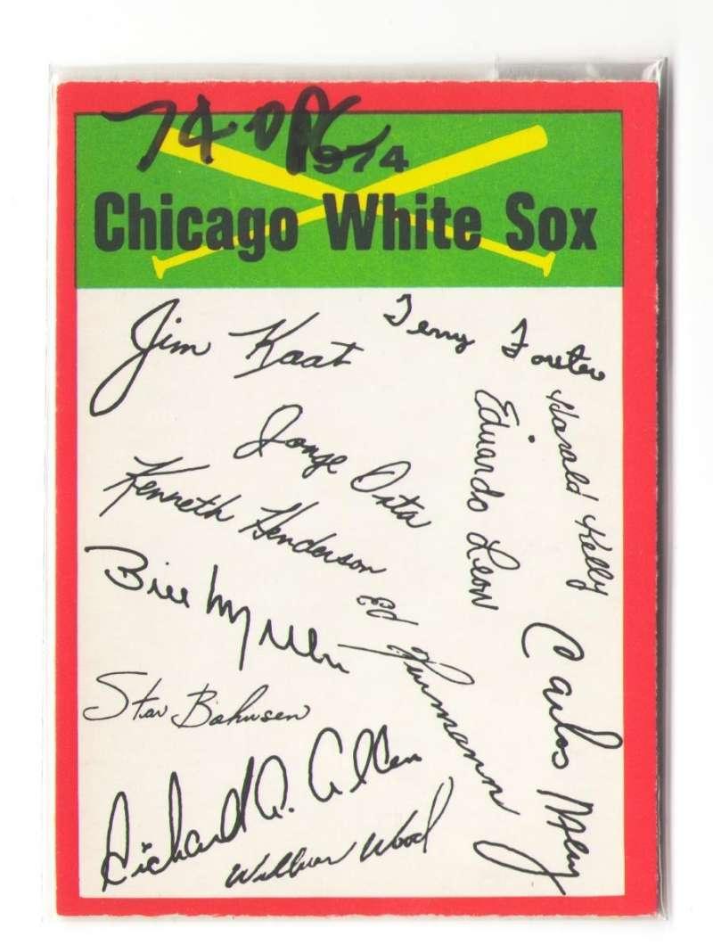 1974 O-Pee-Chee Team Checklist Card CHICAGO WHITE SOX
