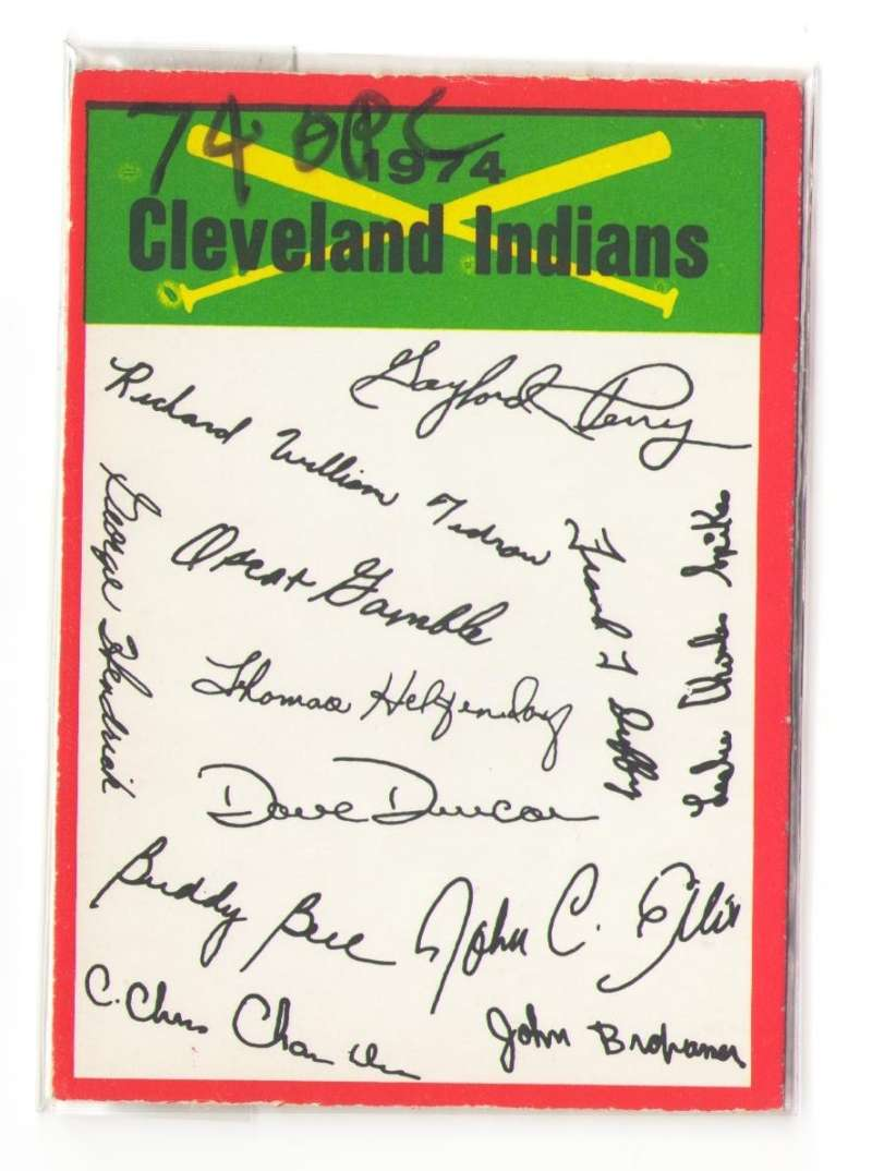 1974 O-Pee-Chee Team Checklist Card CLEVELAND INDIANS