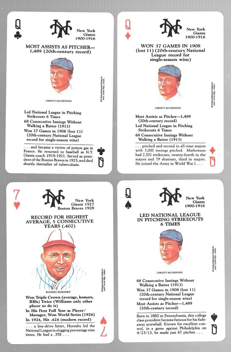 1991 US Game Systems Baseball Legends Playing 4 Cards - New York Giants Team Set