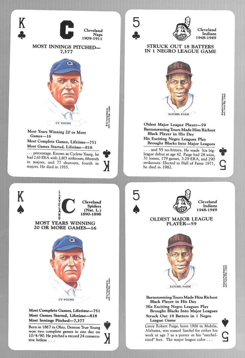 1991 US Game Systems Baseball Legends Playing 4 Cards Cleveland Indians Team Set