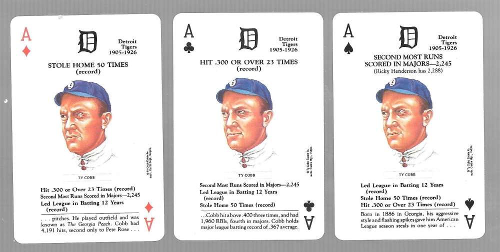 1991 US Game Systems Baseball Legends Playing 3 Cards Detroit Tigers