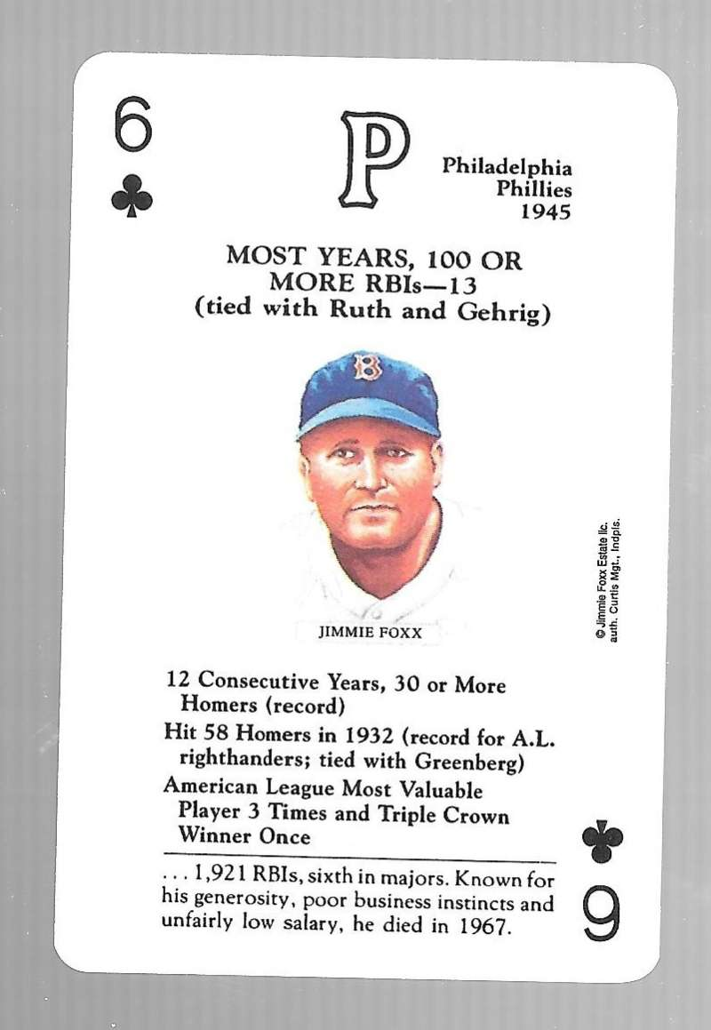 1991 US Game SystemsBaseball  Legends Playing 1 Card - Philadelphia Phillies