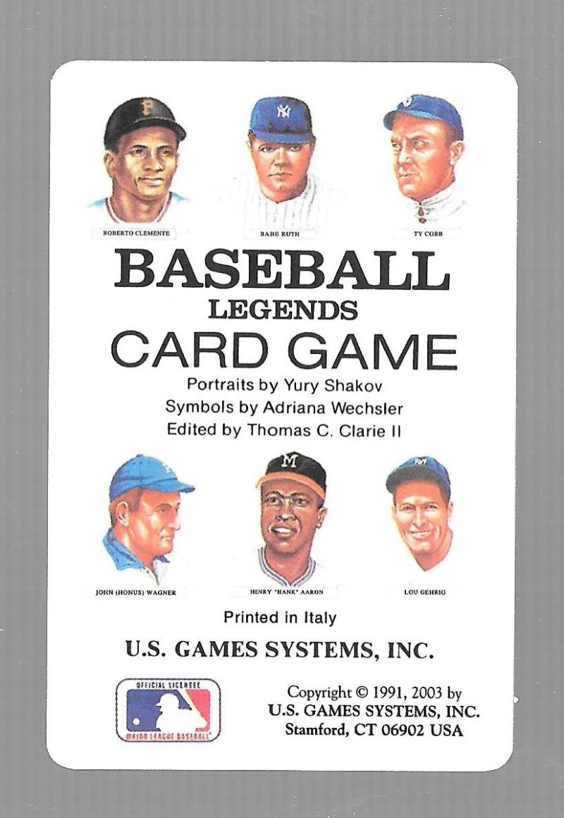 1991 U.S. Game Systems Legends Playing Cards Cover Card