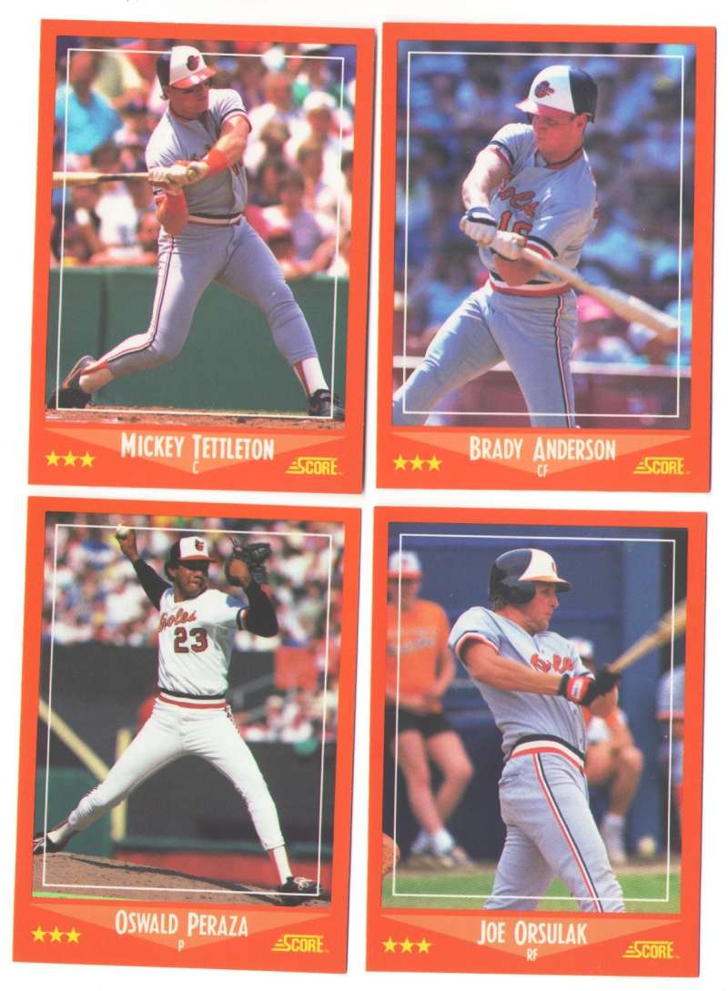 1988, 89,90 Score Rookie and Traded - BALTIMORE ORIOLES Team Sets