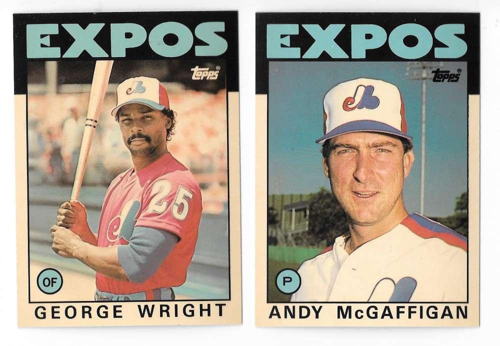1986 Topps Traded TIFFANY - MONTREAL EXPOS Team Set w/ Andres Galarraga