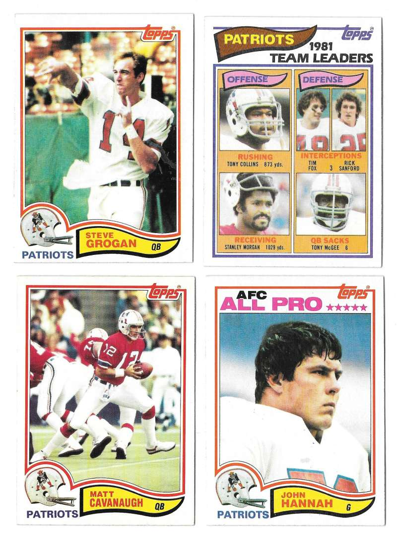 1982 Topps Football Team Set - NEW ENGLAND PATRIOTS