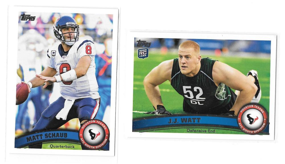 2011 Topps Football Team Set Houston Texans - 15 Cards w/ JJ Watt RC