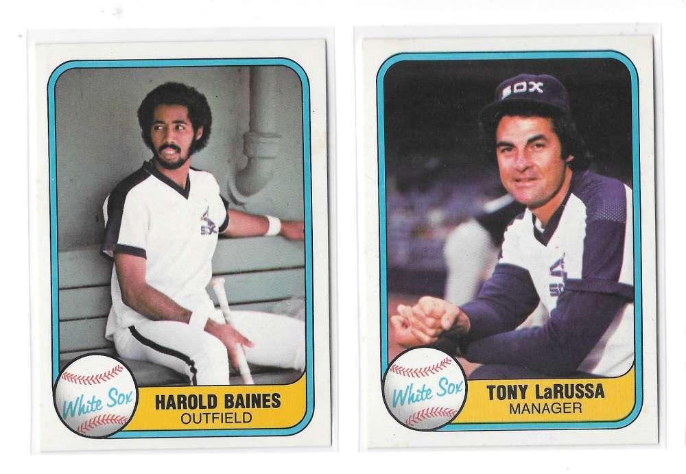 1981 FLEER - CHICAGO WHITE SOX Team Set