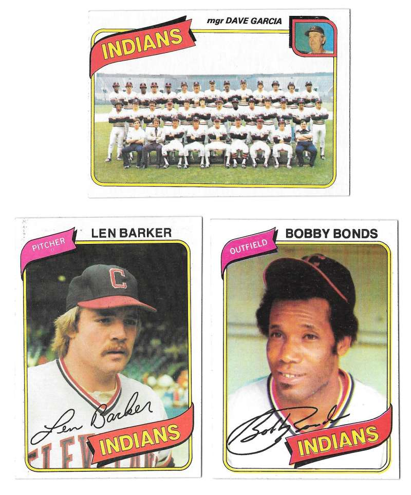 1980 Topps - CLEVELAND INDIANS Team Set