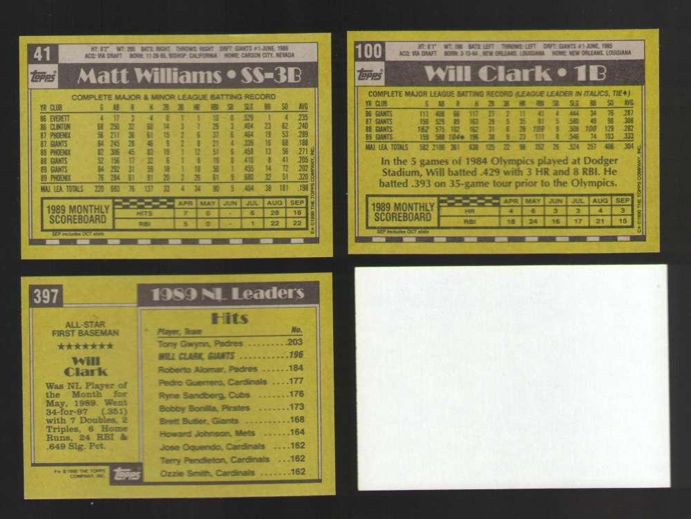 1990 TOPPS Blank Front - SAN FRANCISCO GIANTS Team Set