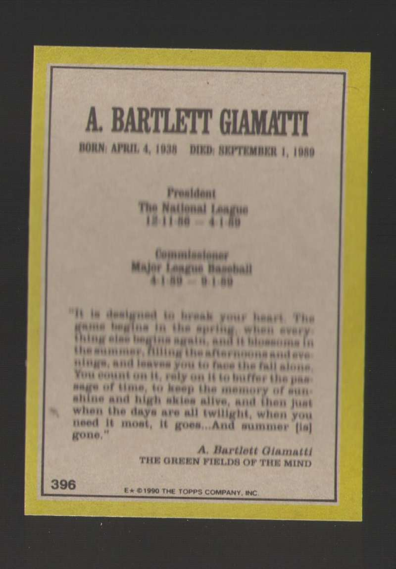 1990 Topps Blank Front - 396 Bart Giamatti - Commissioner
