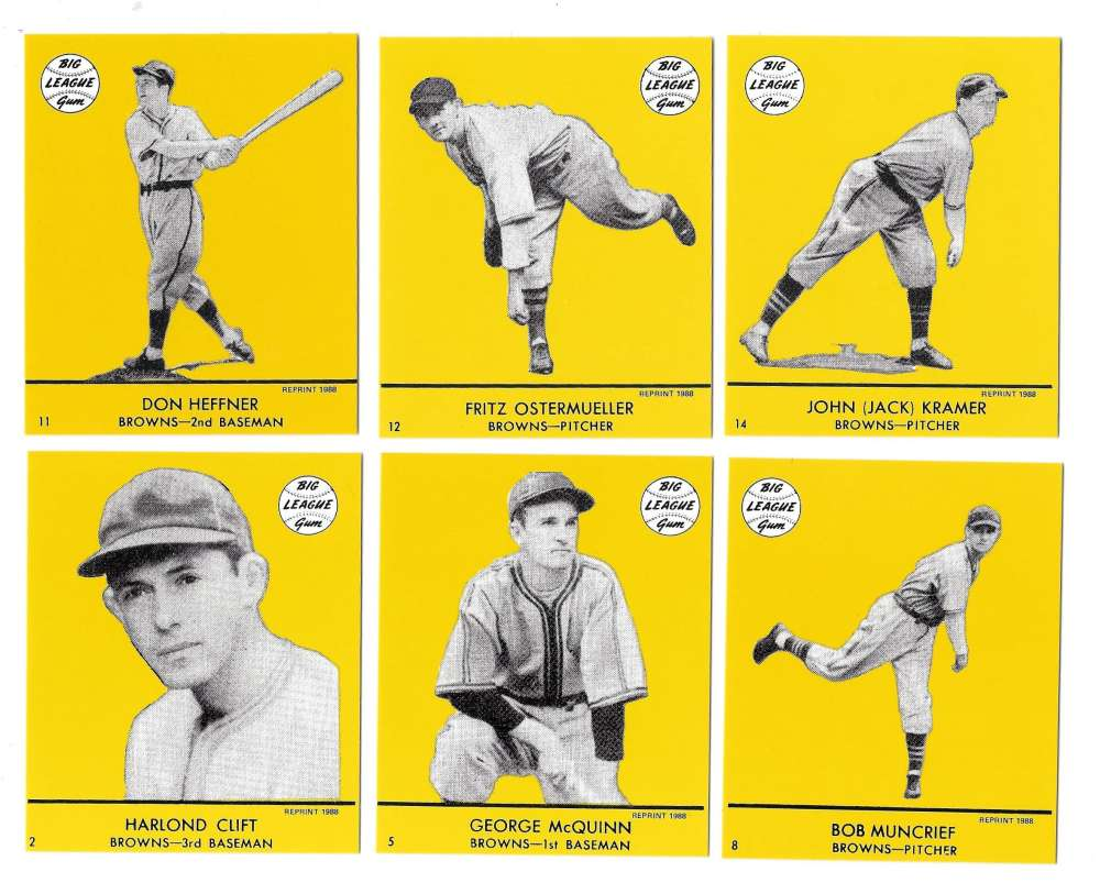 1941 Goudey (Yellow) Reprints - ST LOUIS BROWNS (ORIOLES) Team Set