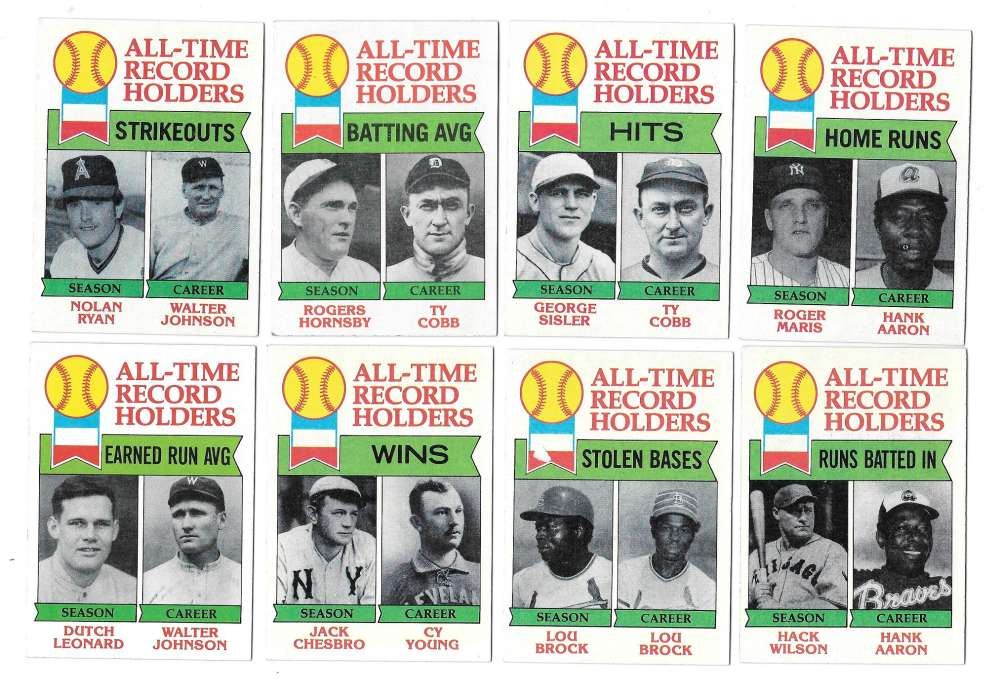 1979 Topps B EX+ Condition - All Time Record Holders  8 card subset