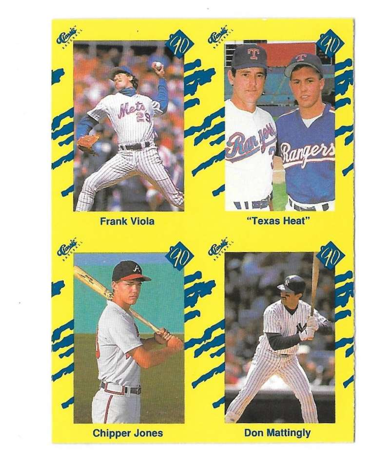 1990 Classic Yellow - Combo card Chipper Jones  Nolan Ryan  Don Mattingly