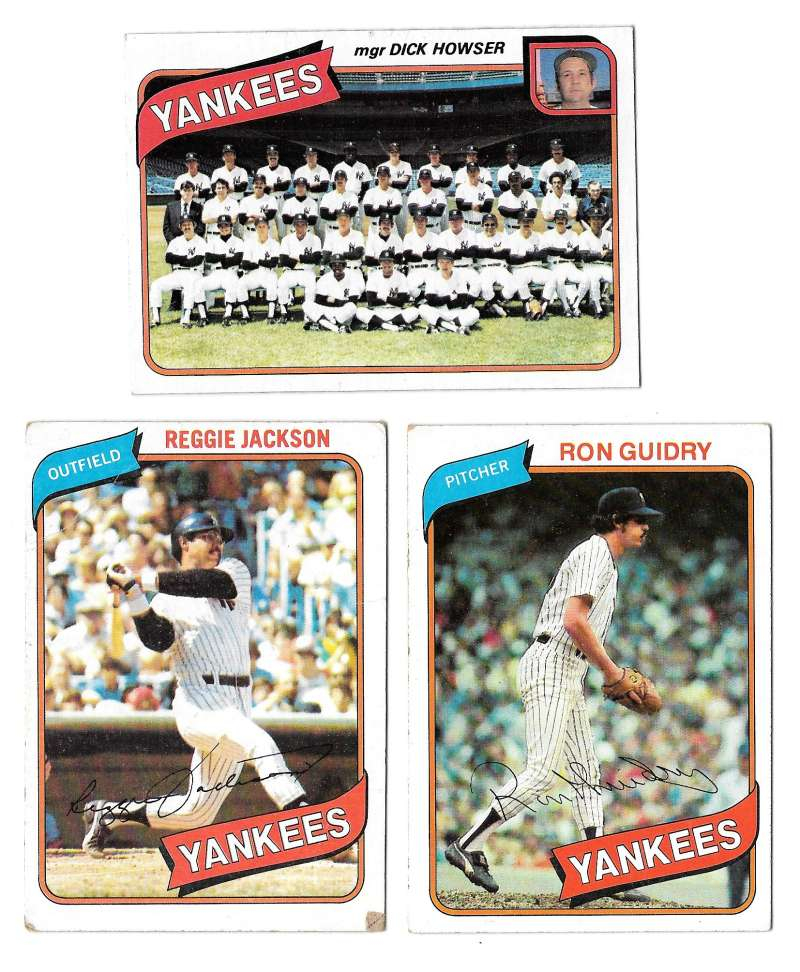 1980 Topps (VG+ Condition) NEW YORK YANKEES Team Set