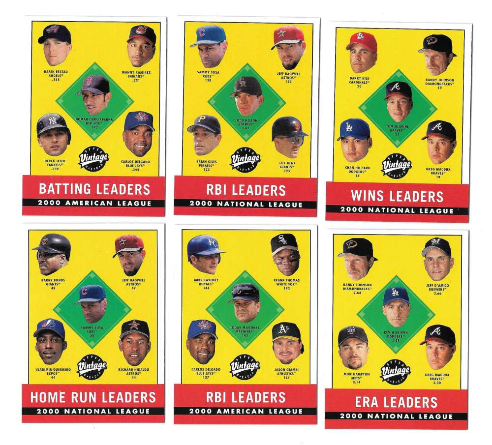 2001 Upper Deck Vintage - League leaders 10 card set
